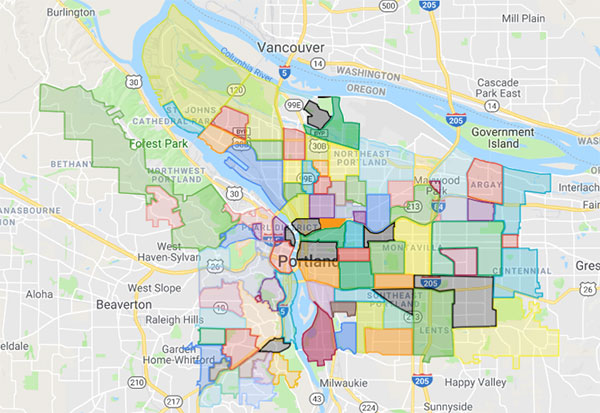 Bernhardt Swisstrust Appraisal Portland Neighborhoods Map Image